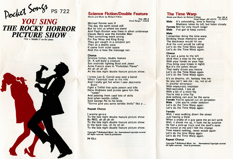 "Pocket Songs You Sing The Hits ""The Rocky Horror Picture Show"" Cassette (Booklet Part 1)"