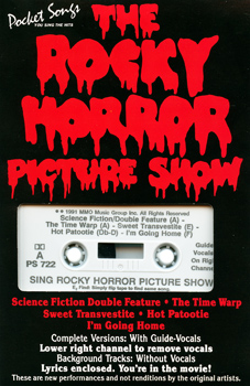 "Pocket Songs You Sing The Hits ""The Rocky Horror Picture Show"" Cassette (Front Cover)"