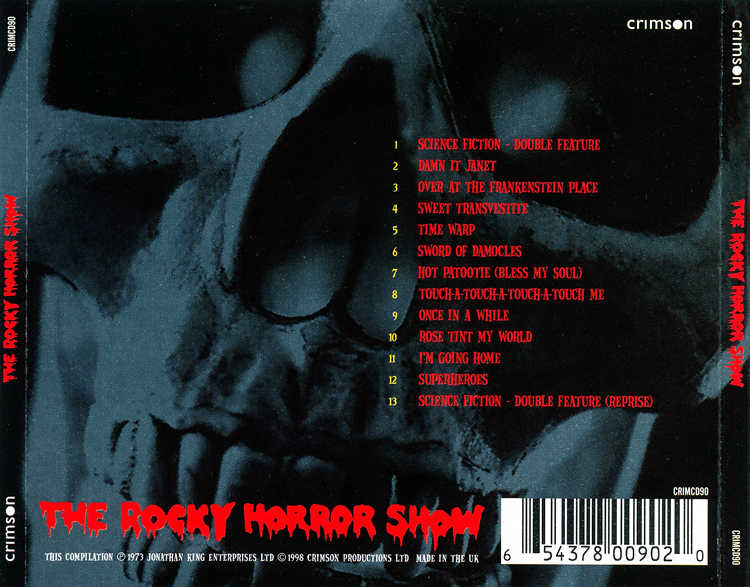 Rocky Horror Show, 1973 London Cast CD, Crimson Productions (Back Cover)