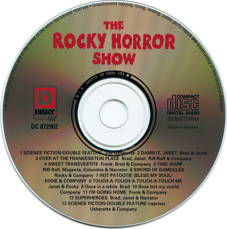 Rocky Horror Show, 1973 London Cast CD, Disky Communications Europe (Compact Disc)