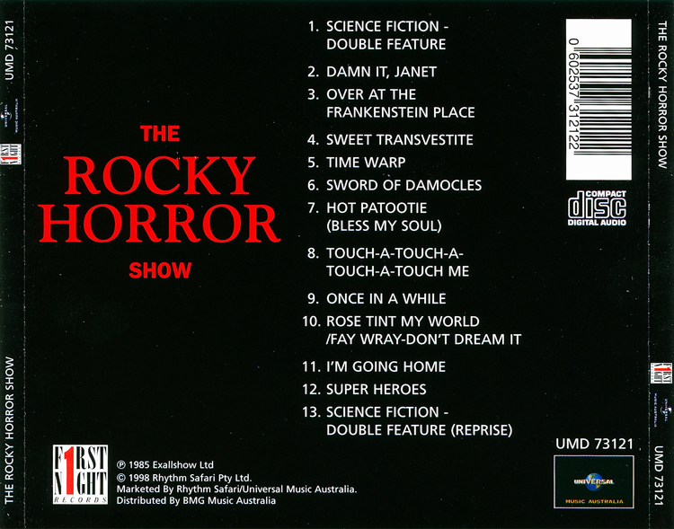 Rocky Horror Show, 1973 London Cast CD, Universal 25th Anniversary Edition (Back Cover)