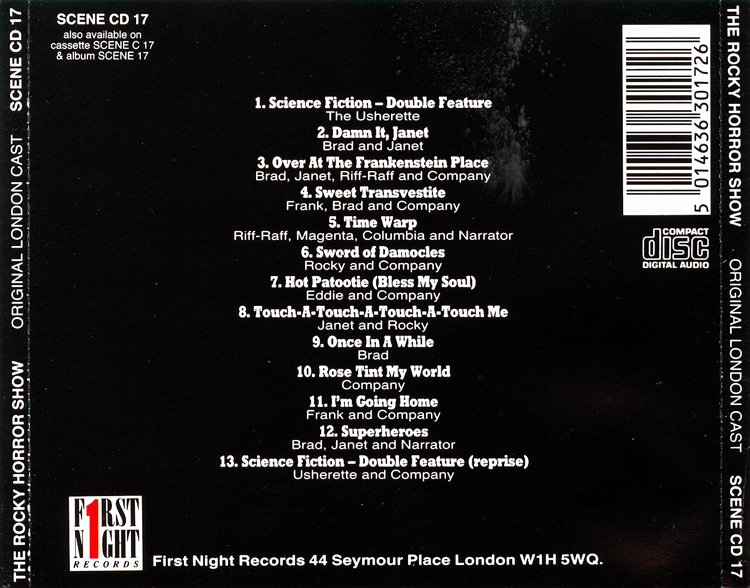 Rocky Horror Show, 1973 London Cast CD, First Night Records (Back Cover)