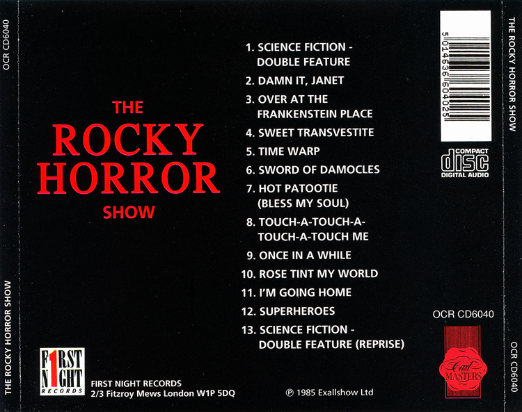 Rocky Horror Show, 1973 London Cast CD, First Night Records Cast Masters (Back Cover)