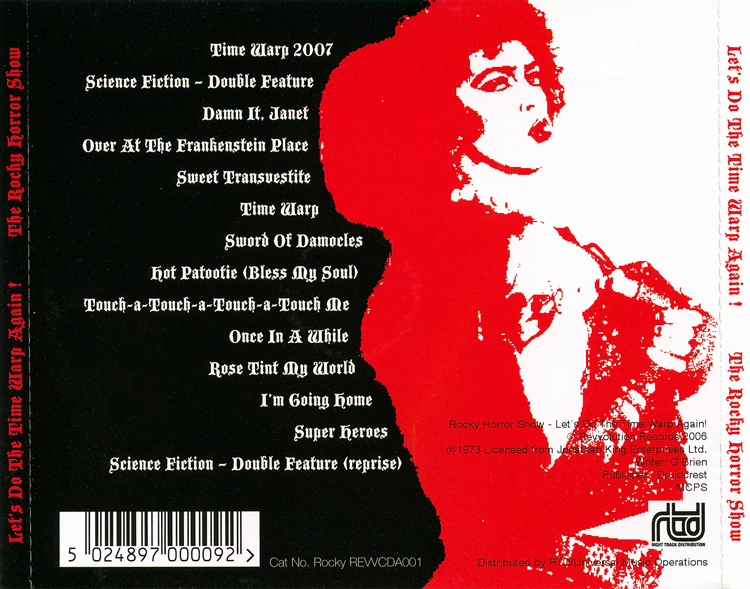 Rocky Horror Show, 1973 London Cast CD, Revvolution Records (Back Cover)
