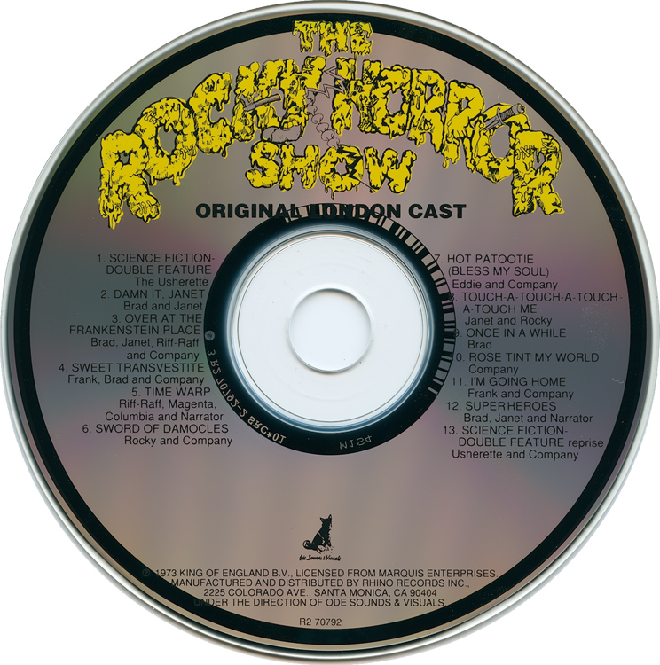 Rocky Horror Show, 1973 London Cast CD, Rhino Records (Compact Disc)
