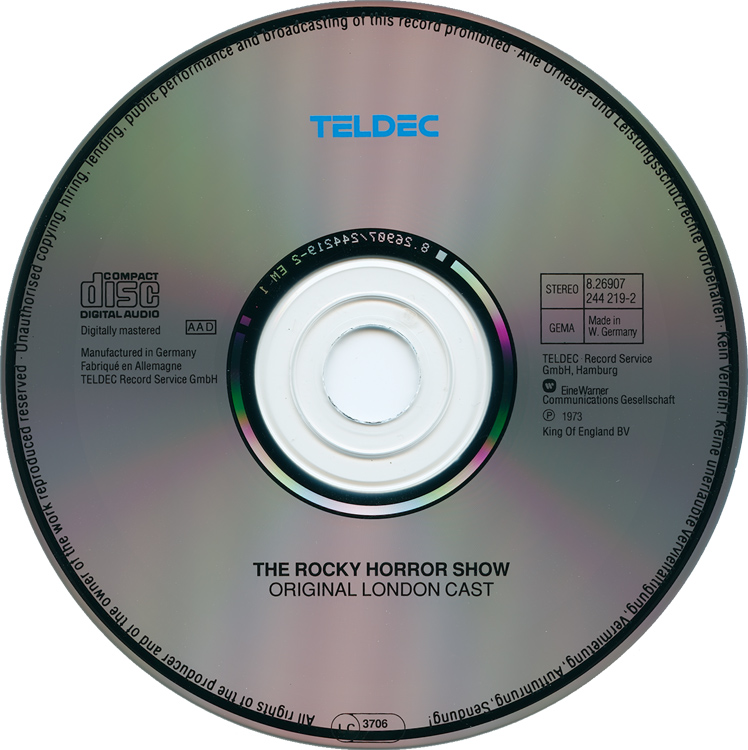 Rocky Horror Show, 1973 London Cast CD, Teldec Record Service (Compact Disc)