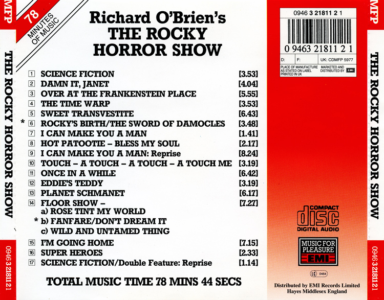 Rocky Horror Show, 1990 London Cast CD, EMI Records (Back Cover)