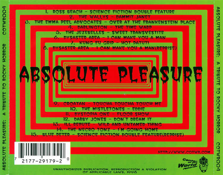 Absolute Pleasure: A Tribute to Rocky Horror CD (Back Cover)
