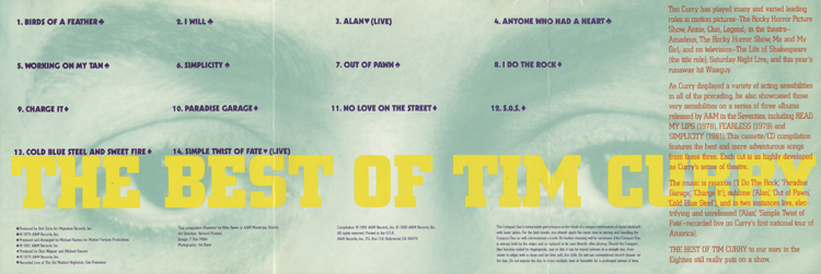 Best Of Tim Curry CD (Liner Notes)