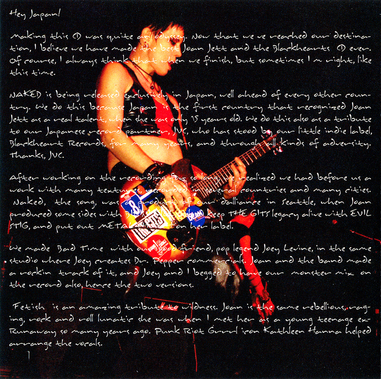 "Joan Jett and the Blackhearts ""Naked"" CD (Liner Notes Part 1)"