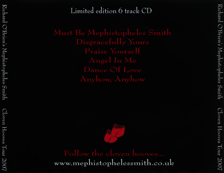 Mephistopheles Smith Cloven Hooves Tour 2007 CD-R Single (Back Cover)