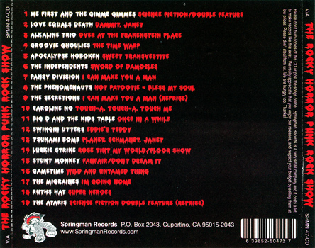 The Rocky Horror Punk Rock Show CD (Back Cover)