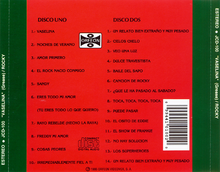 El Show De Terror De Rocky, 1976 Mexican Cast Two-CD Set (Back Cover)