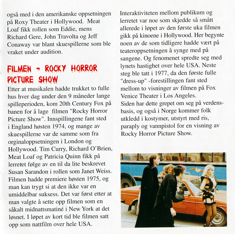 Rocky Horror Show, 1977 Norsk Versjon CD (Liner Notes Part 2)