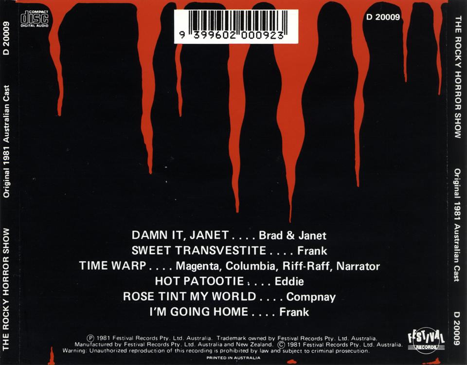 rockymusic rocky horror show 1981 australian cast cd back cover