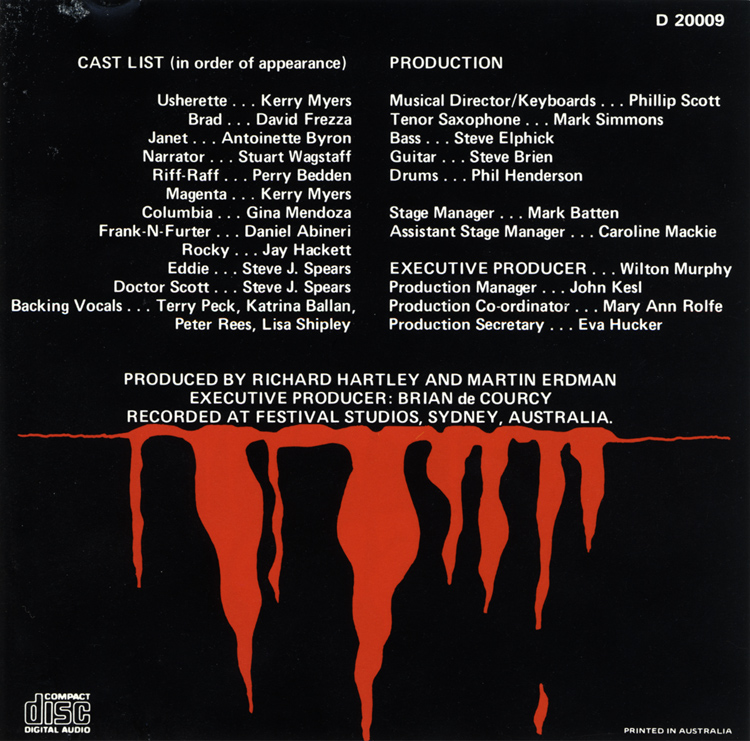Rocky Horror Show, 1981 Australian Cast CD (Liner Notes Back)