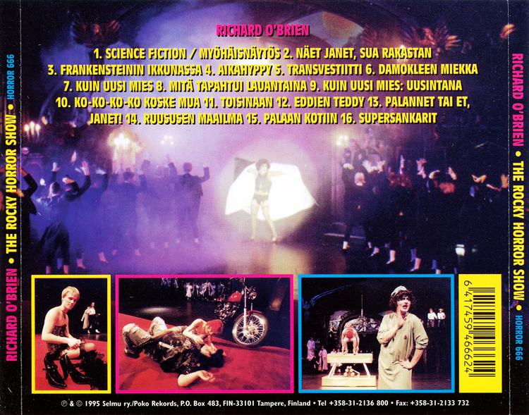 Rocky Horror Show, 1995 Finnish Cast CD (Back Cover)