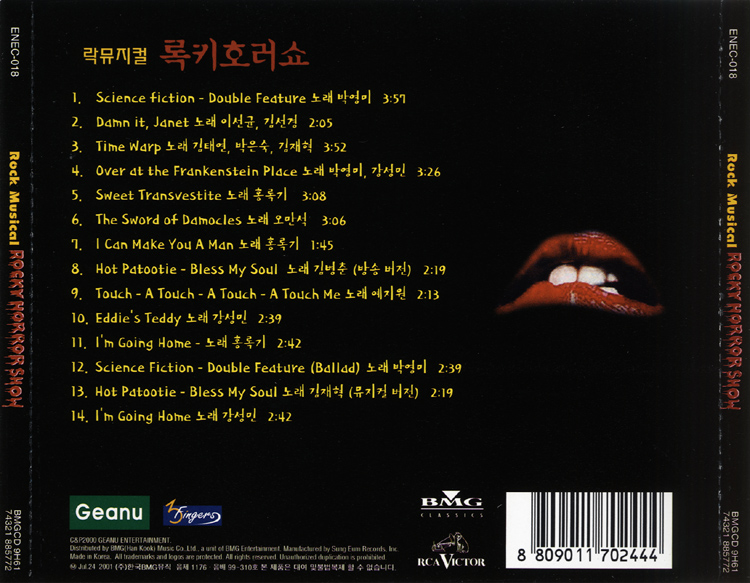 Rockymusic Rocky Horror Show 2001 Korean Cast Cd Back