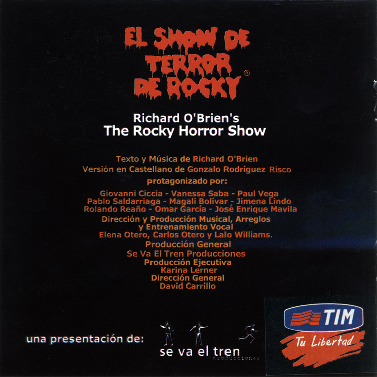 El Show De Terror De Rocky, 2001 Peruvian Cast CD (Liner Notes Back)