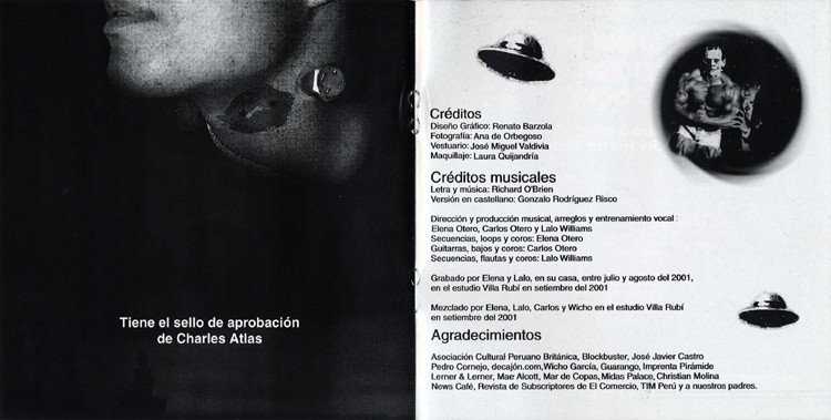 El Show De Terror De Rocky, 2001 Peruvian Cast CD (Liner Notes)