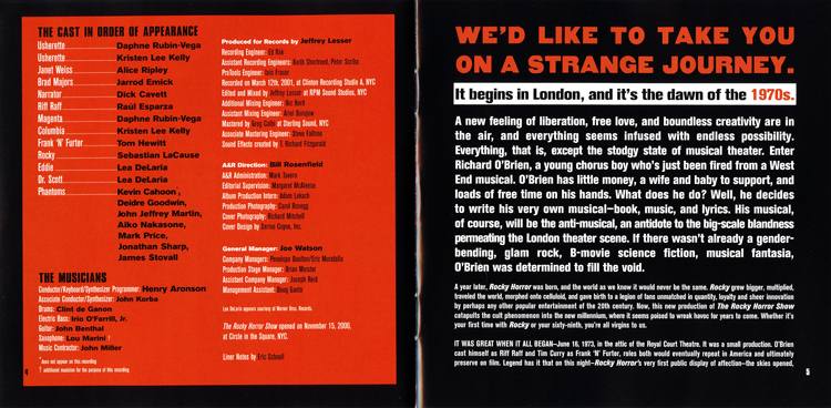 Rocky Horror Show, 2001 Broadway Cast CD (Liner Notes Part 2)