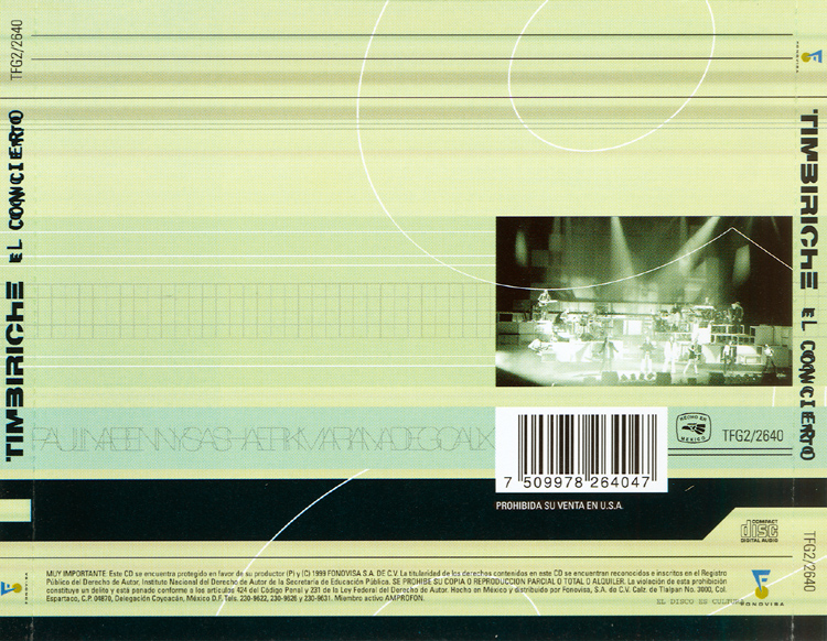 "Timbiriche ""El Concierto"" Two-CD Set (Back Cover)"