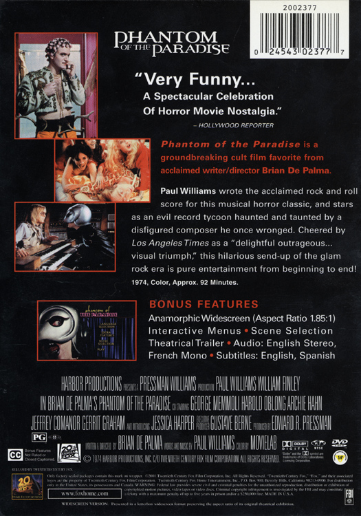 Phantom of the Paradise (DVD Back Cover)