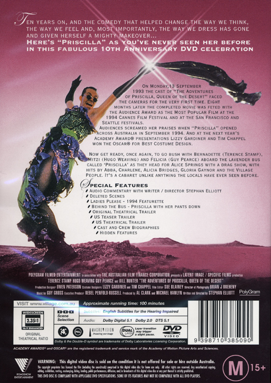 Adventures of Priscilla, Queen of the Desert (10th Anniversary DVD Back Cover)
