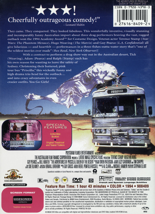 Adventures of Priscilla, Queen of the Desert (DVD Back Cover)