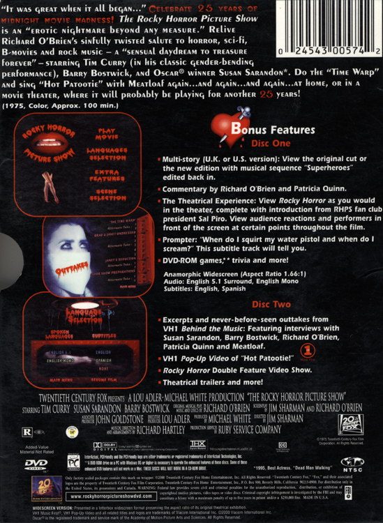 Rocky Horror Picture Show (25th Anniversary DVD Back Cover)