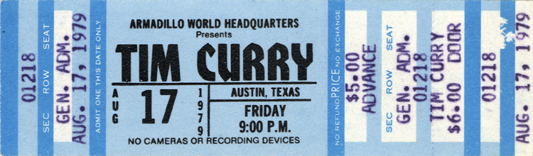 Tim Curry Concert Ticket (1979)