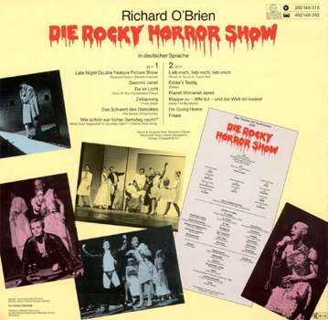Die Rocky Horror Show, 1980 Essen Germany Cast LP (Back Cover)