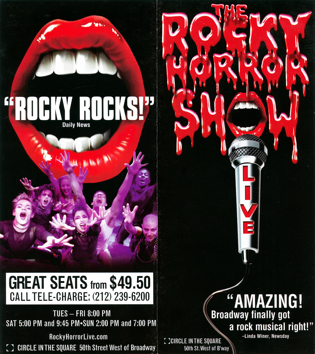 Rockymusic Rocky Horror Show 2001 Broadway Cast Flyer