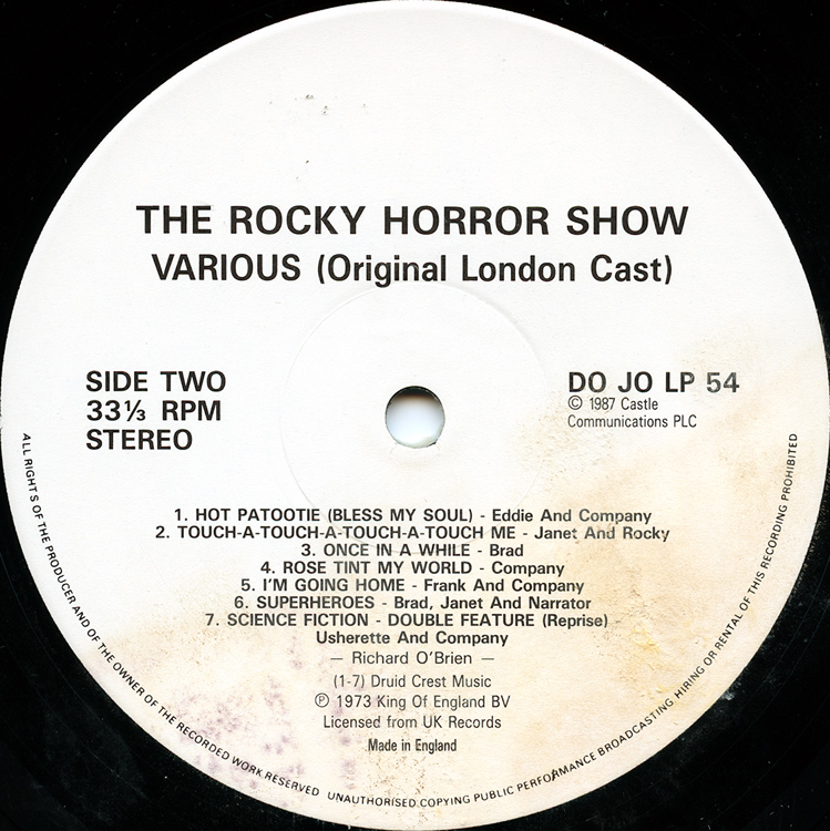Rocky Horror Show, 1973 London Cast LP, Dojo Records (Disc Label Side Two)
