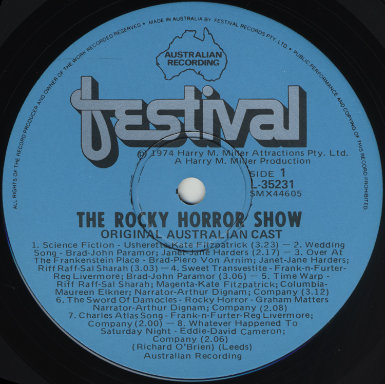 Rocky Horror Show, 1974 Australian Cast LP, Festival Records (Disc Label Side One)