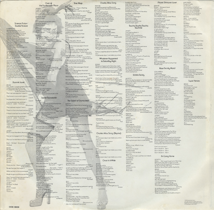 Rocky Horror Show, 1974 Roxy Cast LP (Inner Sleeve Back)