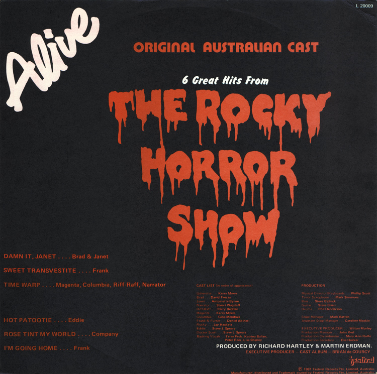 Rocky Horror Show, 1981 Australian Cast LP (Back Cover)