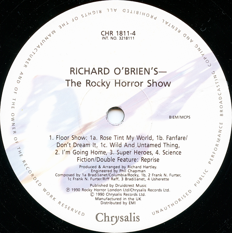 Rocky Horror Show, 1990 London Cast Double LP (Disc Two Label Side Two)