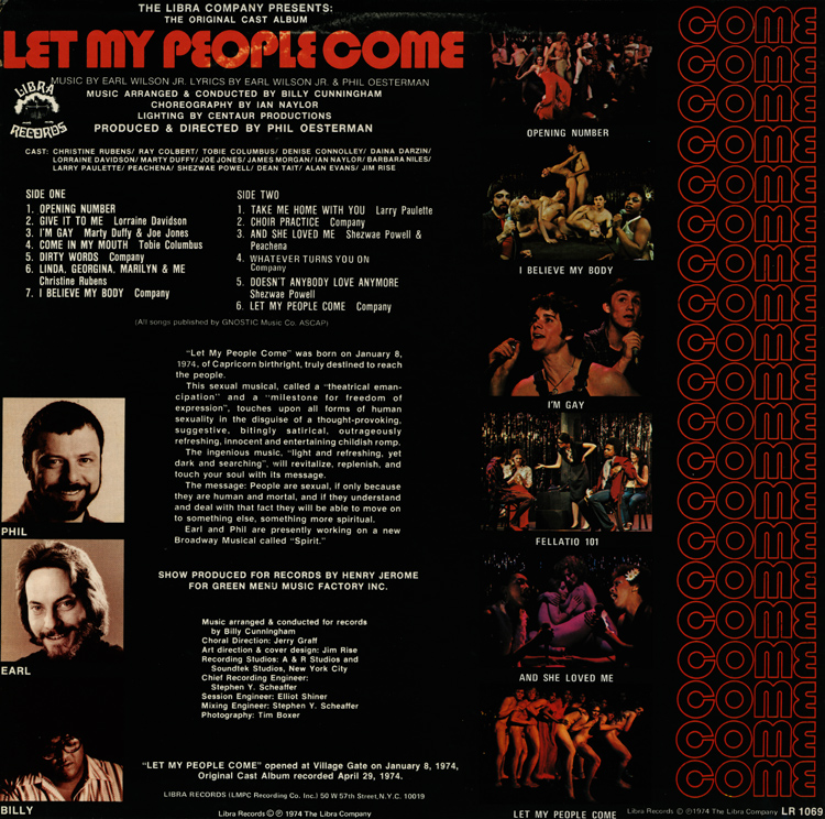 Let My People Come: A Sexual Musical, Original Cast LP (Back Cover)