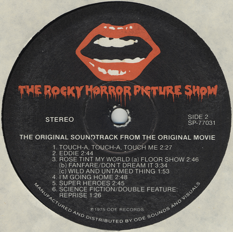Rocky Horror Picture Show Soundtrack LP (Disc Label Side Two)