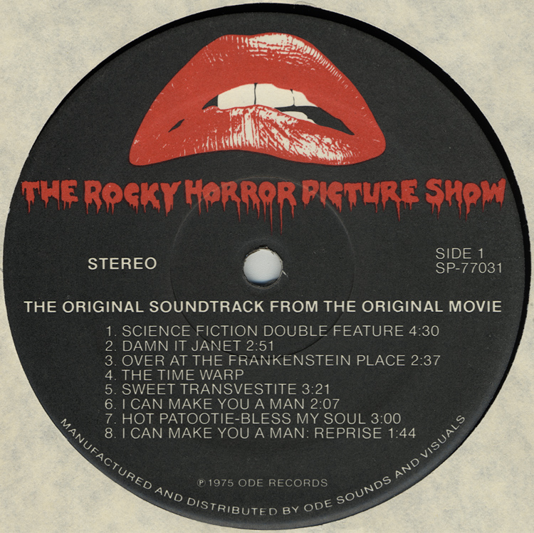 Rocky Horror Picture Show Soundtrack LP (Disc Label Side One, Alternate Pressing)