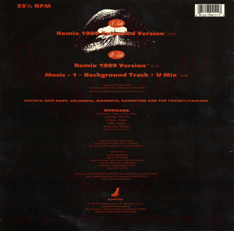 "Time Warp Remix 1989 12"" Single (Back Cover)"