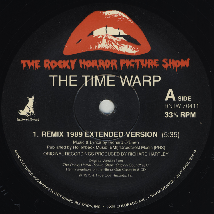 "Time Warp Remix 1989 12"" Single (Disc Label Side One)"