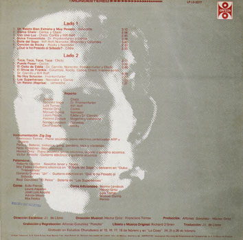 El Show De Terror De Rocky, 1976 Mexican Cast LP (Back Cover)