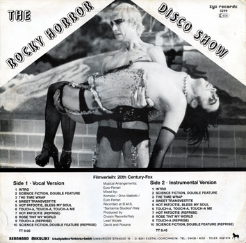 "The Rocky Horror Disco Show 12"" Single (Back Cover)"
