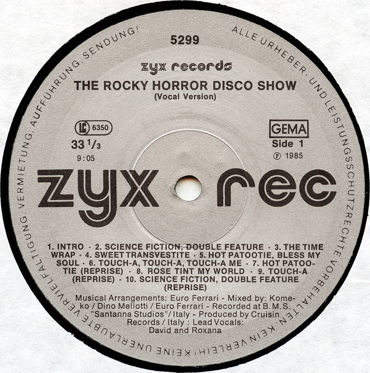 "The Rocky Horror Disco Show 12"" Single (Disc Label Side One)"