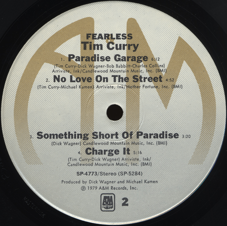 "Tim Curry ""Fearless"" LP (Disc Label Side Two)"