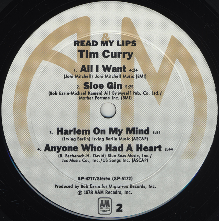 "Tim Curry ""Read My Lips"" LP (Disc Label Side Two)"