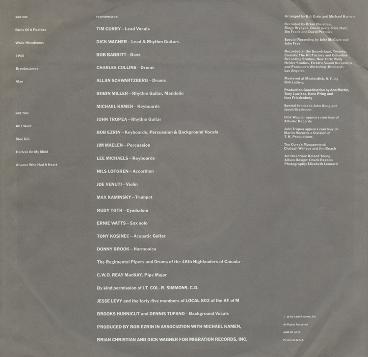 "Tim Curry ""Read My Lips"" LP (Inner Sleeve Back)"