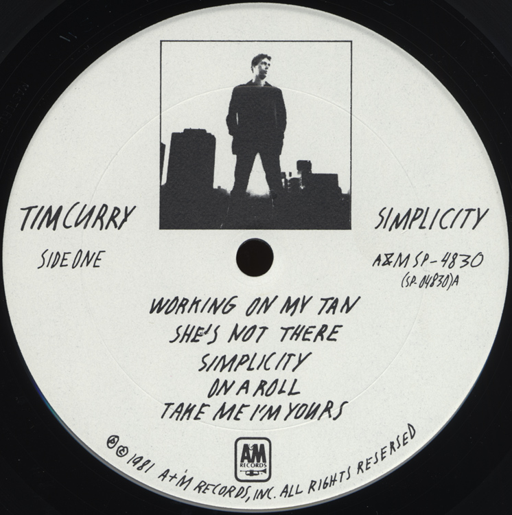"Tim Curry ""Simplicity"" LP (Disc Label Side One)"